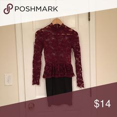 Lace Turtleneck Dress Lace top with bodycon skirt No trades, no free shipping My measurements: 34,24,34, 5ft 6in tall My sizes: XS/0 clothing, 24 jeans, 5 shoes, 32C bra Item: Dress Color: Maroon, black Size: S Brand: Forever 21 Condition: Like New Ships in 3-5 days, can arrange quicker shipping upon request Forever 21 Dresses