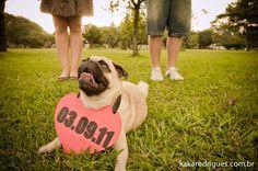 Ideias para casamento e festa: Save the date criativo: noivos + cachorro de estimação