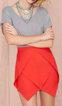 Jagged Little Frill Skirt in RED