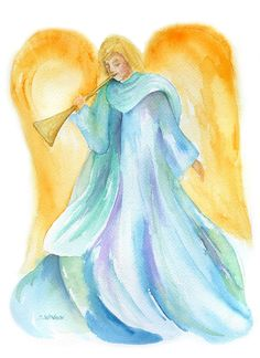 Herald Angel - Christian Christmas Cards - Watercolor Painting - Art