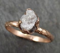 Raw Diamond Solitaire Engagement Ring Rough 14k rose Gold Wedding Ring diamond Wedding Set Stacking Ring Rough Diamond Ring byAngeline 0308