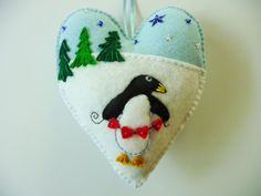 Penguin Felt Heart Ornament / Christmas by heartfeltwhimsy on Etsy