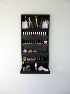Μake up organizer - nail polish rack in black- bathroom storage- pencil,lipstick holder -wall organizer -shelf-acrylic -rangement maquillage