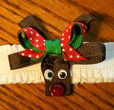 How to make a reindeer hair bow for Christmas. (This would go well with the girls matching pjs)