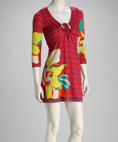 Take a look at this Fuchsia & Yellow Tie-Front V-Neck Dress by White Mark on #zulily today! I just bought it. :-)