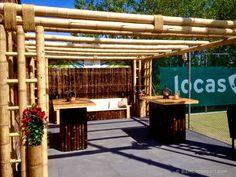 Bamboo Pergola for Tennis Club Diy Pergola, Pergola Ideas For Patio, Pergola Curtains, Outdoor Pergola, Cheap Pergola, Pergola Plans, Pergola Kits, Outdoor Decor, Terrace Ideas