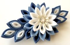 Kanzashi fabric flower french barrette  Blue and white by JuLVa, $18.00