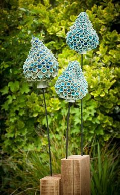 Frances Doherty Ceramic Sculpture / Blue Bells - thrown and modeled stoneware with metal and timber