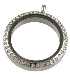 Circle Of Life CZ Stones Floating Locket Silver