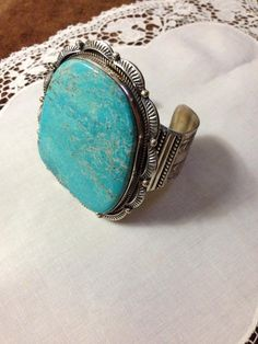 Navajo Easter Blue Turquoise Bracelet by Herman Smith