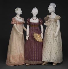 """Evening dresses, 1810′s  From the exhibition """"An Agreeable Tyrant: Fashion After the Revolution"""" at the DAR Museum"""