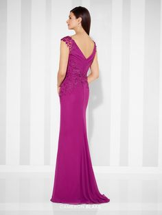 Cameron Blake - 117616 - Chiffon fit and flare gown with lace trimmed cap sleeves, front and back V-necklines, directionally ruched bodice, lace motif midriff, gathered inset sweep train. Matching shawl included.Sizes: 4 – 20Colors: Berry, Navy Blue, Platinum