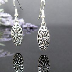 Silver oval dangle earrings, surgical steel, nickel free earrings, small silver drop, antique silver earrings, silver filigree jewelry, gift by AndesBeads on Etsy