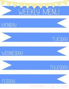 Menu Monday + Free Menu Printable - The Grant Life