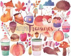 Autumn Clipart  Watercolor Clipart Autumn Leaves Pumpkins