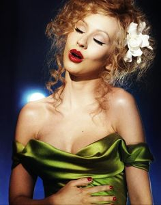 """Christina Aguilera was in this green gown when singing the song """"Bound to You"""" in Burlesque movie. The young singer looked Stunning wearing this green silk like satin dress ! Burlesque Film, Burlesque Makeup, Christina Aguilera Burlesque, Red Lip Makeup, Hair Makeup, Eye Makeup, Flawless Makeup, Asian Makeup, Cannes Film Festival"""