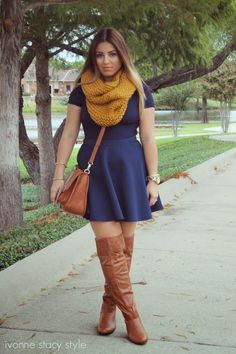 Simple Fall Outfit [Mustard Yellow + Navy Blue]