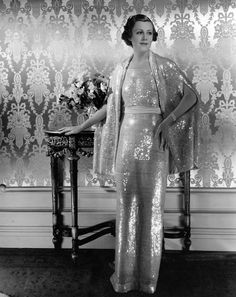 irene dunne in a shimmering gown and cover-up | 1936 | #vintage #1930s #fashion