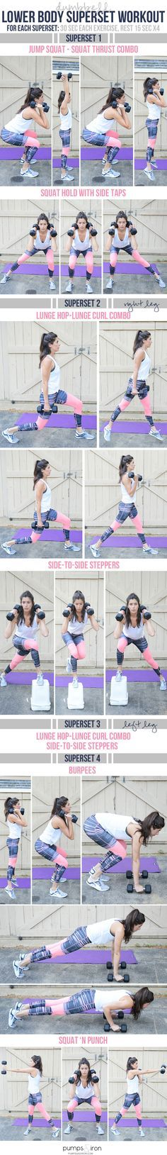 Lower Body Superset Workout - the compound exercises will give you a full-body burn with an emphasis on butt & legs
