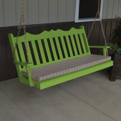 A & L Furniture Yellow Pine Royal English Deluxe Garden Swing Lime - 414-LIME GREEN