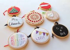 Eight Embroidery Hoop Ornaments for everyone on your Christmas List!
