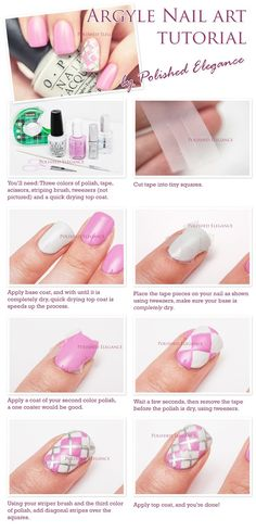 tutorial argyle nail art pink argyle manicure tutorial argyle tutorial nails by lessie Cute Nail Art, Nail Art Diy, Diy Nails, Cute Nails, Plaid Nail Art, Plaid Nails, Nail Polish Designs, Nail Art Designs, Nail Art Modele