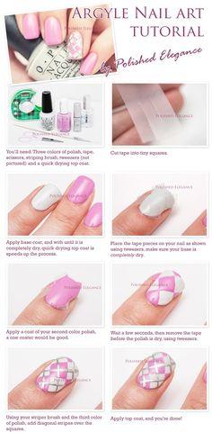 tutorial de uñas argyle arte rosa manicura argyle argyle tutorial uñas tutoriales