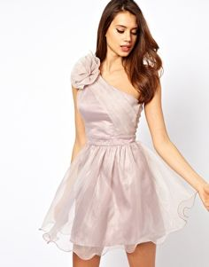 Lipsy Tutu Dress with Corsage Shoulder Detail