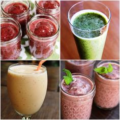 4 Deliciously Healthy Smoothies to Help You Keep Your 2016 Resolutions! Get the recipes for our Blueberry Ginger, Green Apple Cucumber Mint, Peachy Protein, & Strawberry Basil Smoothies here.