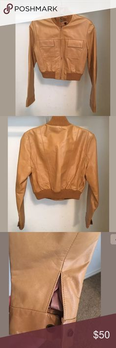 % Genuine Leather Cropped leather bomber jacket GUESS Jackets & Coats