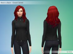 Black is Back - Closed Jacket By Kliekie #Download #Sims4 #TS4 #MM #CC #MMCC #TS4MM #TS4Finds #CustomContent #Sims4CC #Clothing #Casual #Generic #Women #Female #YoungAdult #Adult #Elder #Black