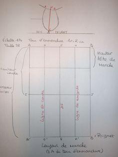 Voici comment tracer un patron de manche de base.   Tout d'abord il vous faut le tour d'emmanchure. Il s'obtient en mesurant la courb... Pattern Making, Line Chart, Lana, Sewing, Voici, Corsage, Sleeve Pattern, Sewing Lessons, Tutorial Sewing