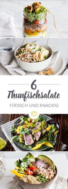 Ob gekocht, roh oder kurz gebraten – wenn wie bei diesen 6 Salaten Thunfisch mit an Bord ist, springen alle Salat-Fans vor Freude in die Luft.