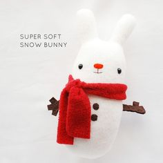 27+ Adorable Free Sewing Patterns for Stuffies, Plushies, Stuffed Animals and Other Felt and Fabric Toys- Super Soft Snow Bunny Plush from Wild Olive