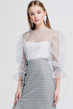 Dion Dot Mesh Top Discover the latest fashion trends online at storets.com #fashion #dots #mesh #tops #ootd #storetsonme
