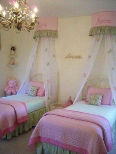 Adorable Girls Room ~ Beautiful Chandelier