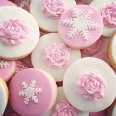 Cute pink and white sugar cookies with flowers and snowflakes by L&V Sweets