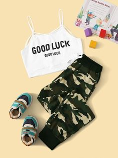 Girls Strappy Neck Slogan Cami And Camo Sweatpants Set - - Source by Girls Fashion Clothes, Teen Fashion Outfits, Retro Outfits, Outfits For Teens, Cute Sleepwear, Cute Lazy Outfits, Vetement Fashion, Teenager Outfits, Outfit Sets