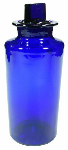 "Blue | Blau | Bleu | Azul | Blå | Azul | 蓝色 | Color | Form | Texture |  30 oz Ground stoppered and pontilled Chemist jar. Etched ""HYPO"". c1880s"