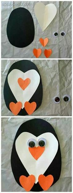 Als je deze spullen thuis hebt kan je een pinguin maken.