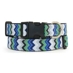 The sharp and stylish Twin Peaks collar is a must have for your fashionable pooch. This striking collar features a classic chevron stripe pattern in various shades of blue, green, gray, and black.  Hand made in the USA.