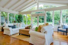 Casual & Comfortable Beach House Sunroom. Beach House Decorating.