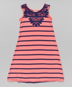 Love this Neon Pink & Navy Maxi Dress - Toddler & Girls by Pink Vanilla on #zulily! #zulilyfinds