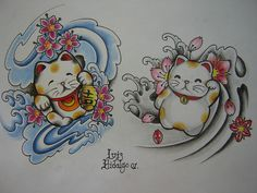 maneki neko pair. tattoo designs. I could use alot of good luck...