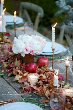 Nature inspired autumn table - I played with a pile of colorful autumn leaves the other day. No, I didn't jump into a...