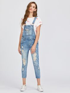 0f178d80 Light Blue Ripped Bleach Wash Cuffed Overall Jeans in 2019 | Closet ...