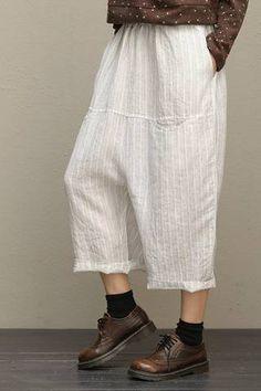 Fabric: Fabric has some stretchSeason: Summer Pant Type: Wide leg Waist Type: High waistPant Length: LongColor: White,Black,CoffeeStyle: CasualMaterial: Linen Free Size: Length: 82 cm, Mori Girl Fashion, Summer Denim, Long Shirt Dress, Pants For Women, Clothes For Women, Type Of Pants, Casual Tops For Women, Loose Sweater, Linen Pants
