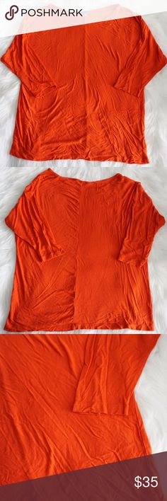 Vince Soft Knit Dolman Top in Orange Size L Beautiful dolman top by Vince in orange Super soft! Pre-loved, in great condition Measurements: armpit to armpit- 20 inches, top to bottom- 24.5 inches, sleeves- 19.5 inches. Vince Tops