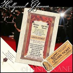 UNIQUE Hollywood Glamour Movie Star Wedding INVITATIONS EVENT TICKETS Graduation, Quinceanera, Birthday, Sweet 16, Anniversary, Family Reunion, Bridal Shower, Baby, Party, Screening Vintage Theatre Movie Old Hollywood Cinema Red Curtains gold frame RARE