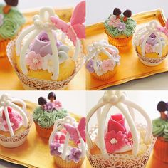 ♡ Gorgeous birdcage cupcakes made by my students today 今日のクラスも たくさんお話ししながらとっても楽しかったー❤️ Facebookにも写真一枚ずつアップしました Thank you for joining me xx お越しいただきありがとうございました♡
